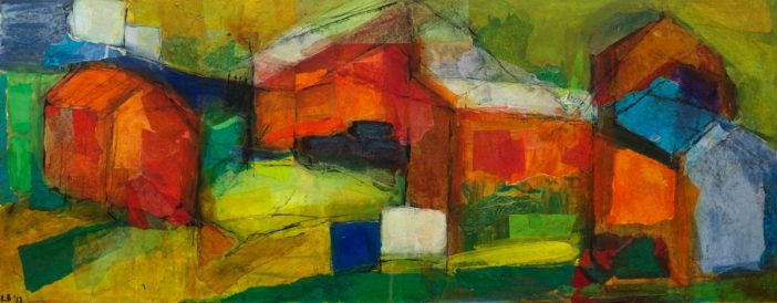 Allotments 3, mixed media, 92 x 35cm © Lel Blair