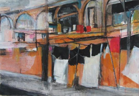 China Washing Lines 2, mixed media,87 x 61cm© Lel Blair